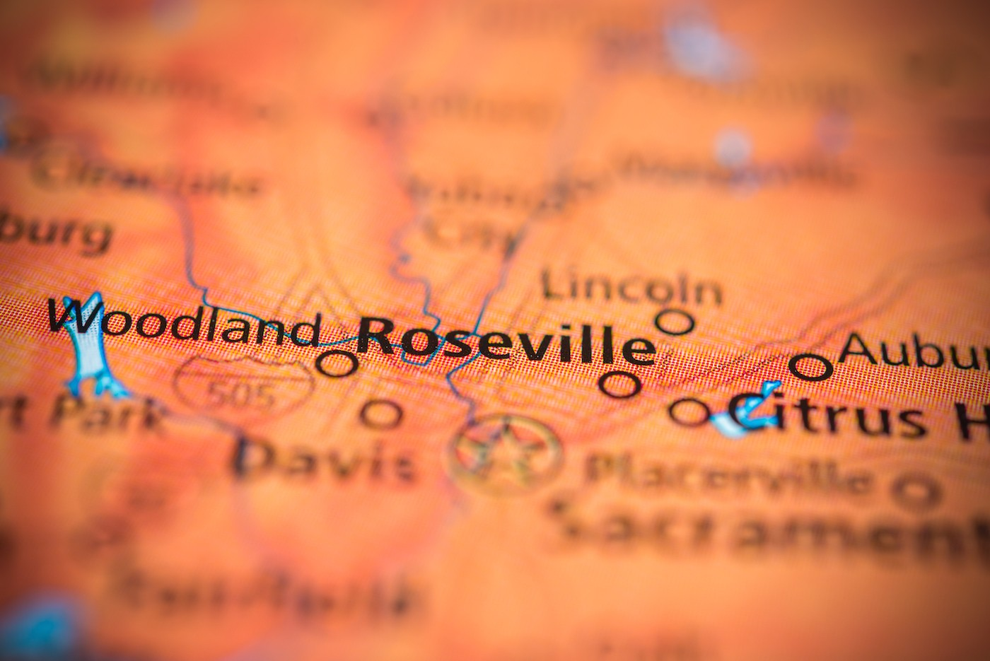 Close-up map of Roseville California