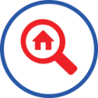 Home inside a magnifying glass representing home performance services provided in Rocklin, CA by Brower Mechanical