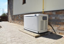 Generator installed outside a residential home for power backup