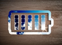 Solar panels inside a battery outline - solar battery energy storage concept