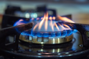 natural gas burner on stove up close