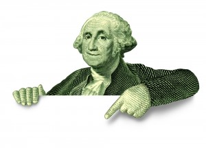 George washington pointing at announcement