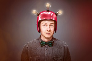 man wearing helmet with lightbulbs on it