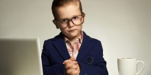 young child dressed as a professor