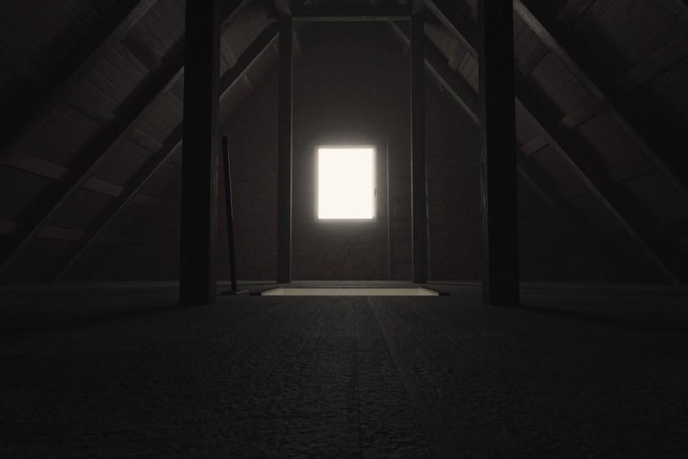 creepy dark attic of a home