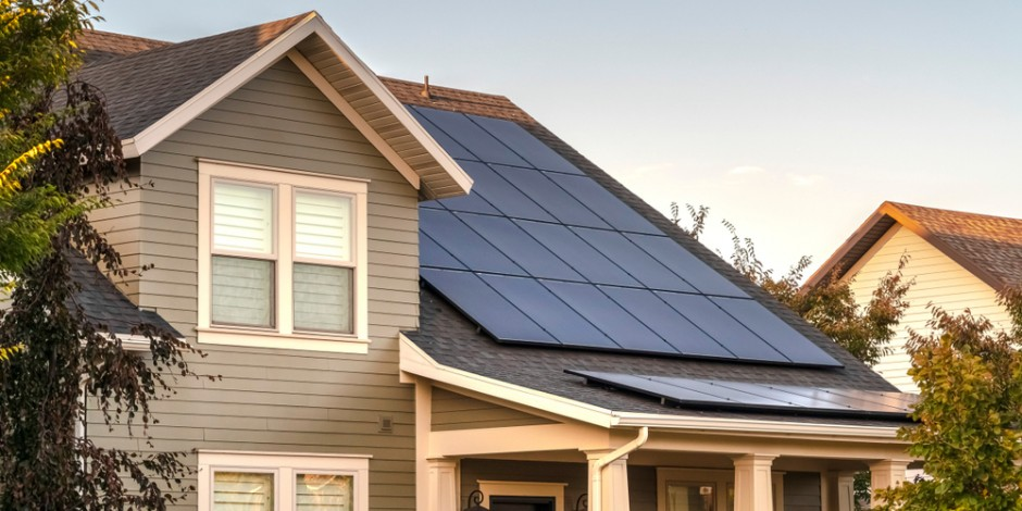 house with solar panels on front roof